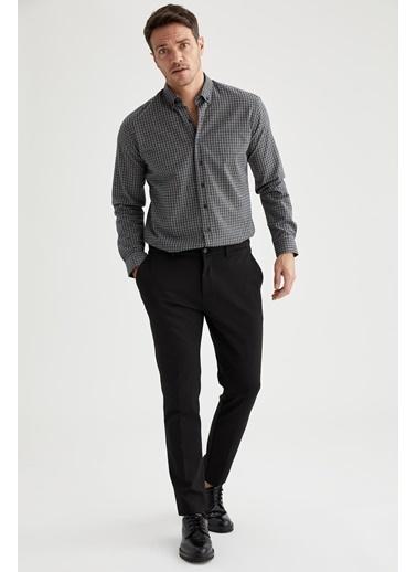 DeFacto Kareli Modern Fit Uzun Kollu Ekose Gömlek Gri
